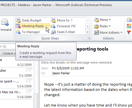 Outlook Quick Steps 2010